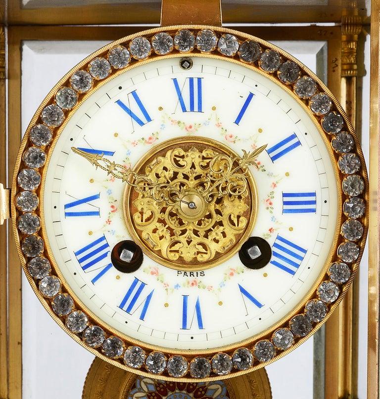 Louis XVI 19th Century French Champlevé Enamel Clock Garniture For Sale