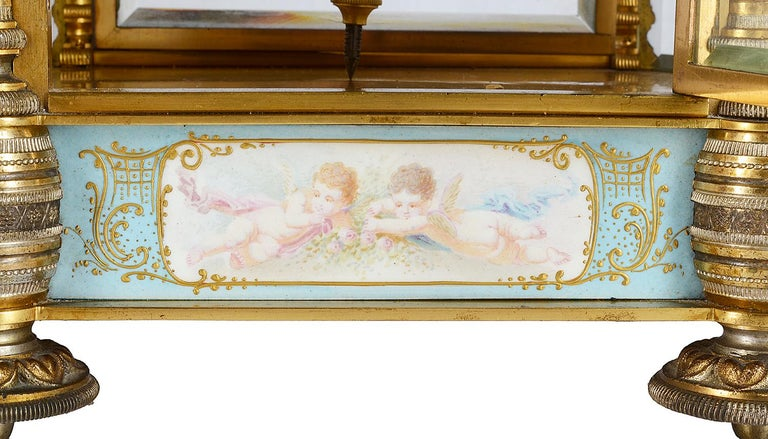 Hand-Painted 19th Century French Champlevé Enamel Clock Garniture For Sale