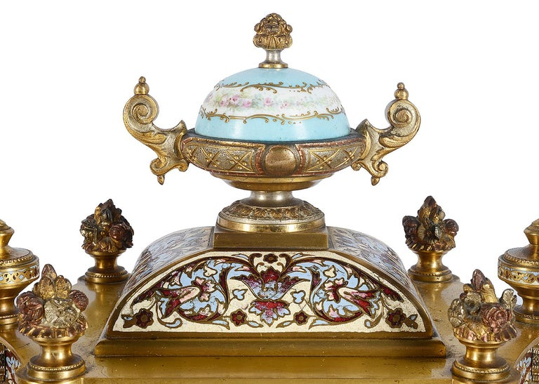 19th Century French Champlevé Enamel Clock Garniture In Good Condition For Sale In Brighton, Sussex