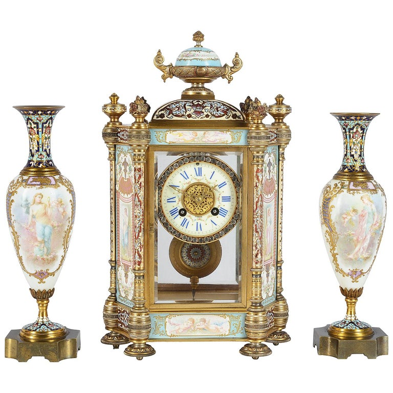 19th Century French Champlevé Enamel Clock Garniture For Sale