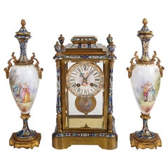 19th Century French Champlevé Enamel Clock Set