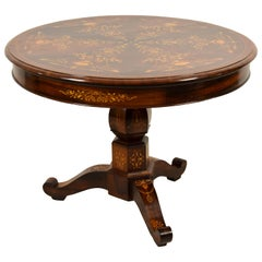 19th Century French Charles X Paved and Inlaid Centre Table with Round Top