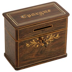 19th Century French Charles X Period Mahogany and Lemon Wood Marquetry Coin Box