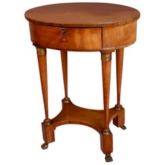 19th Century French Cherrywood and Gilt Metal Work or Lamp Table