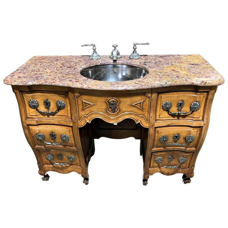 19th Century French Cherrywood and Marble-Top Bathroom Vanity For Sale