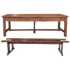 19th Century French Cherrywood Farm Table with Two Benches