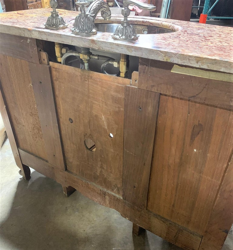 19th Century French Cherrywood and Marble-Top Bathroom Vanity For Sale 1