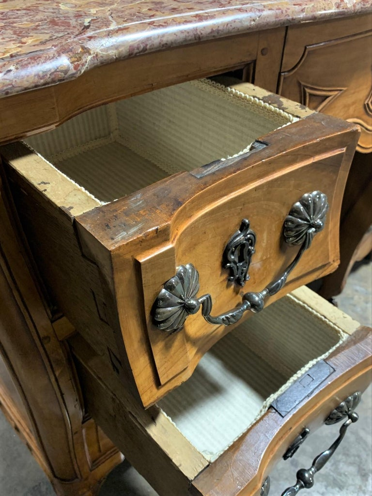 19th Century French Cherrywood and Marble-Top Bathroom Vanity For Sale 2