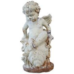 19th Century French Cherub Angel Garden Cast Iron Statue