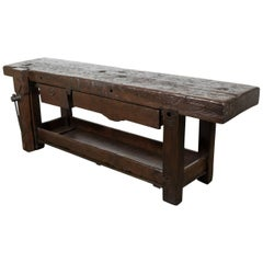 19th Century French Chestnut Etabli or Carpenter's Workbench