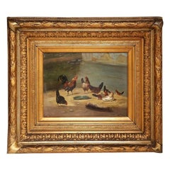 19th Century French Chicken and Roosters Oil Painting in Carved Gilt Frame
