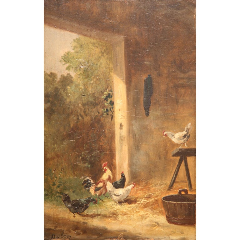 This antique oil on board painting was created in France, circa 1870. Set inside a carved gilt frame, the simple composition depicts a typical