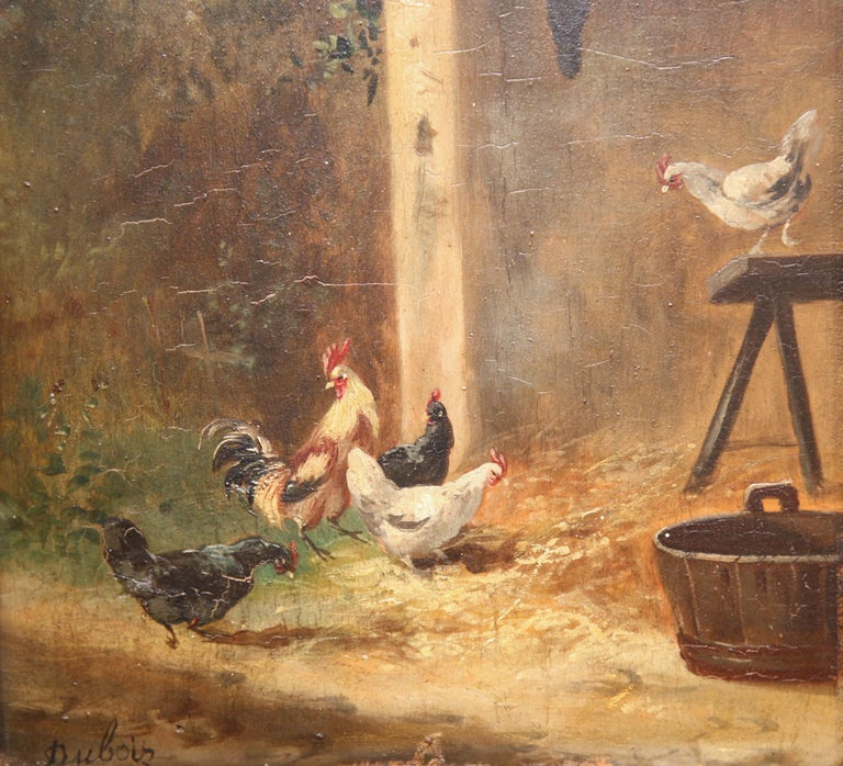 Hand-Painted 19th Century French Chicken Painting in Carved Gilt Frame Signed Dubois For Sale
