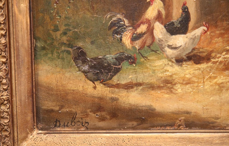 19th Century French Chicken Painting in Carved Gilt Frame Signed Dubois In Excellent Condition For Sale In Dallas, TX