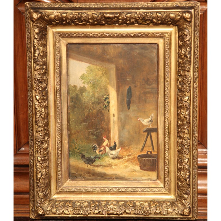 Giltwood 19th Century French Chicken Painting in Carved Gilt Frame Signed Dubois For Sale