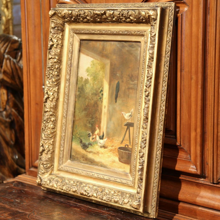 19th Century French Chicken Painting in Carved Gilt Frame Signed Dubois For Sale 1