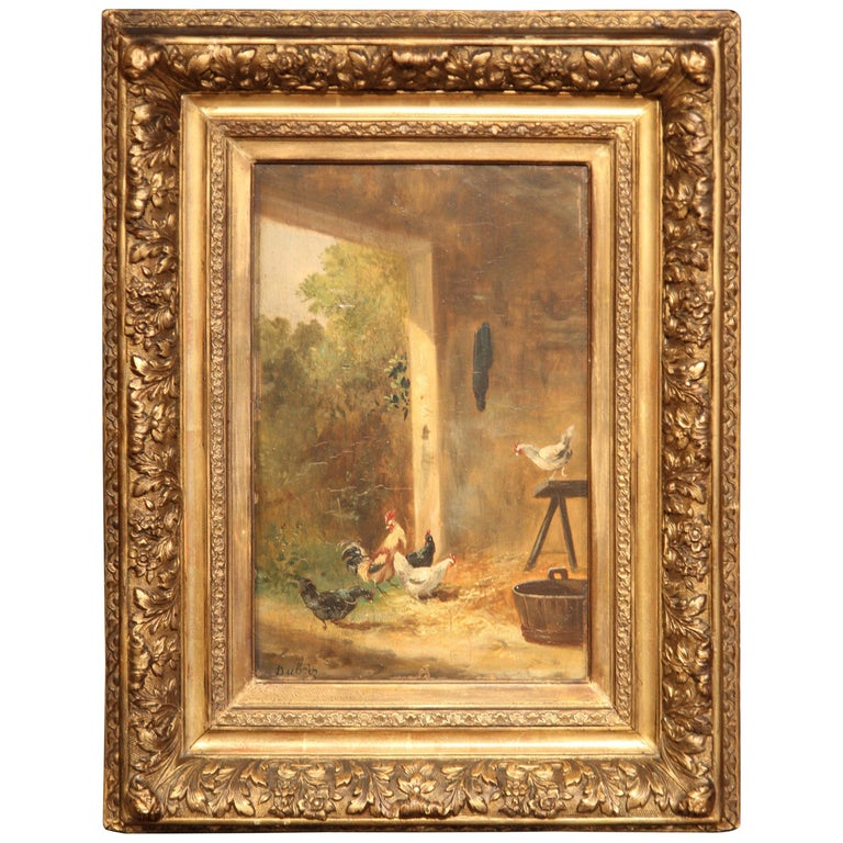 19th Century French Chicken Painting in Carved Gilt Frame Signed Dubois For Sale