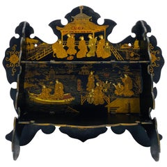 19th Century French Chinoiserie Papier Mâché Shelf with an Ornate Pagoda Motif