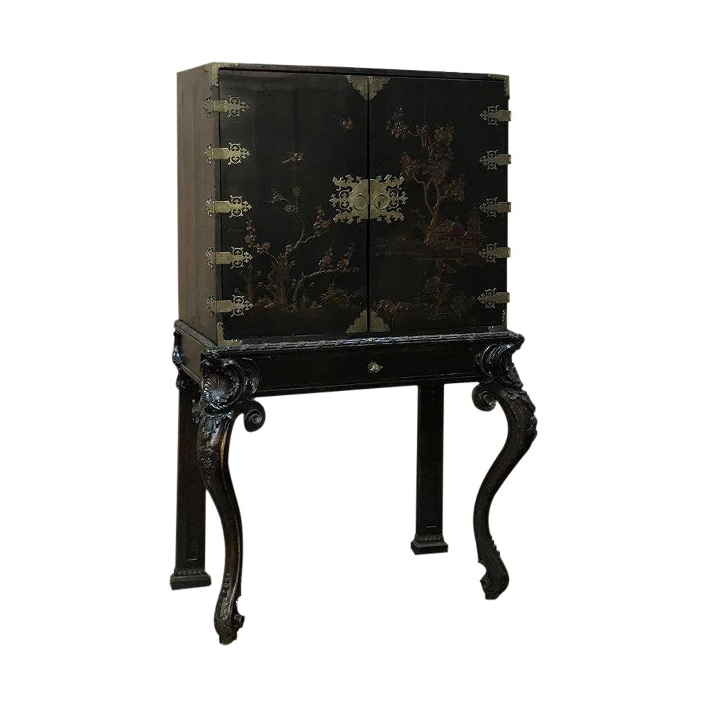19th Century French Chinoiserie Hand Painted Ebonized Raised Cabinet