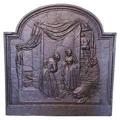 19th Century French Classical Cast Iron Fireback with a Romantic Scene