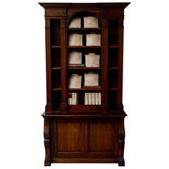 19th Century French Classical Mahogany Bookcase Cabinet Formerly a Gun Cabinet