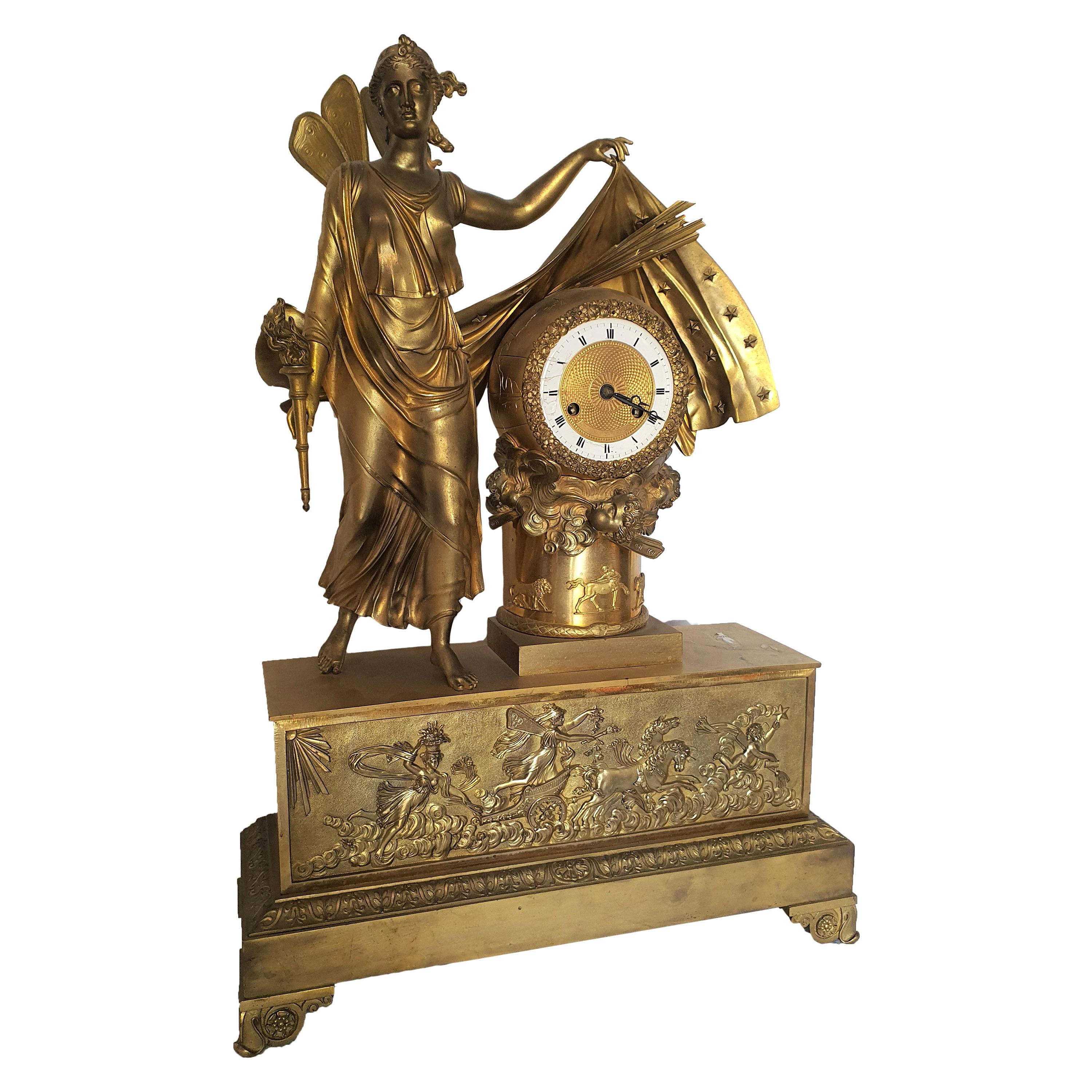 19th Century French Clock in Finely Chiseled and Gilded Bronze