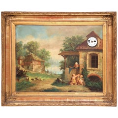 """19th Century French """"Clock Painting"""" with Music Box in Carved Gilt Frame"""