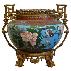 19th Century, French Cloisonné Vase on Gilded Bronze Base