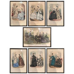 19th Century French Color Women Fashion Prints Framed Dated 1870 'Set of Seven'