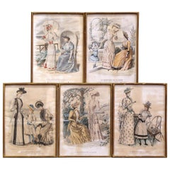"19th Century French Color Women Fashion Prints Framed Dated 1890 ""Set of Five"""
