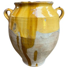 19th Century French Confit Pot Yellow Mustard Glazed Pottery Terracotta Vessel A