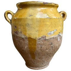 19th Century French Confit Pot Yellow Mustard Glazed Pottery Terracotta Vessel C