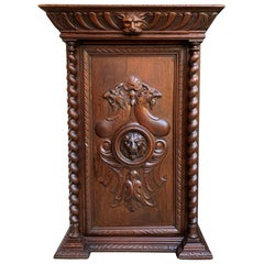 19th Century French Confiturier Jam Cabinet Carved Oak Barley Twist Louis XIV
