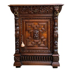 19th century French Confiturier Jam Cabinet Carved Oak Renaissance Wine Bar