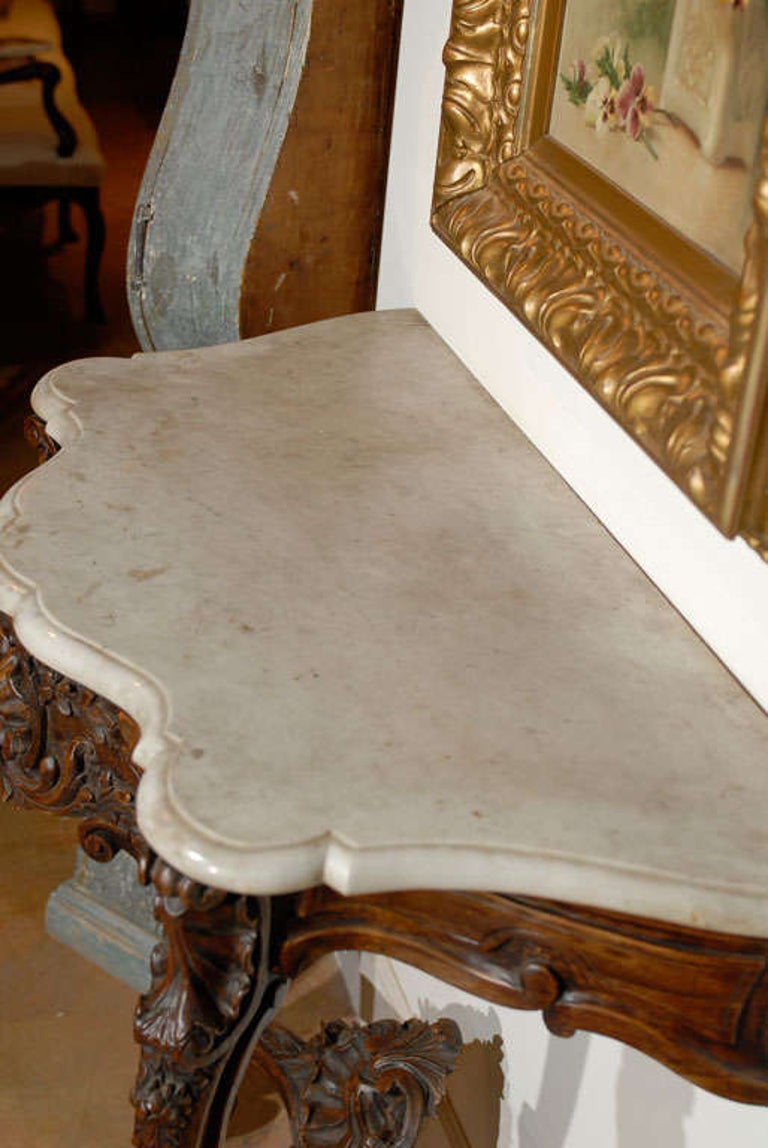 French Rococo Style 19th Century Carved Wooden Console Table with Marble Top For Sale 7