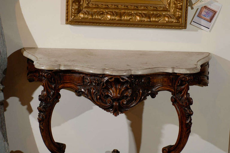 French Rococo Style 19th Century Carved Wooden Console Table with Marble Top In Good Condition For Sale In Atlanta, GA