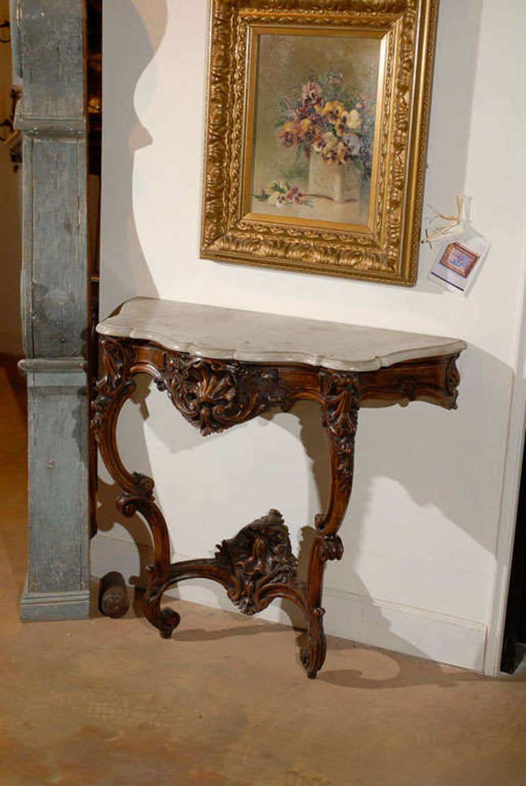 French Rococo Style 19th Century Carved Wooden Console Table with Marble Top For Sale 2