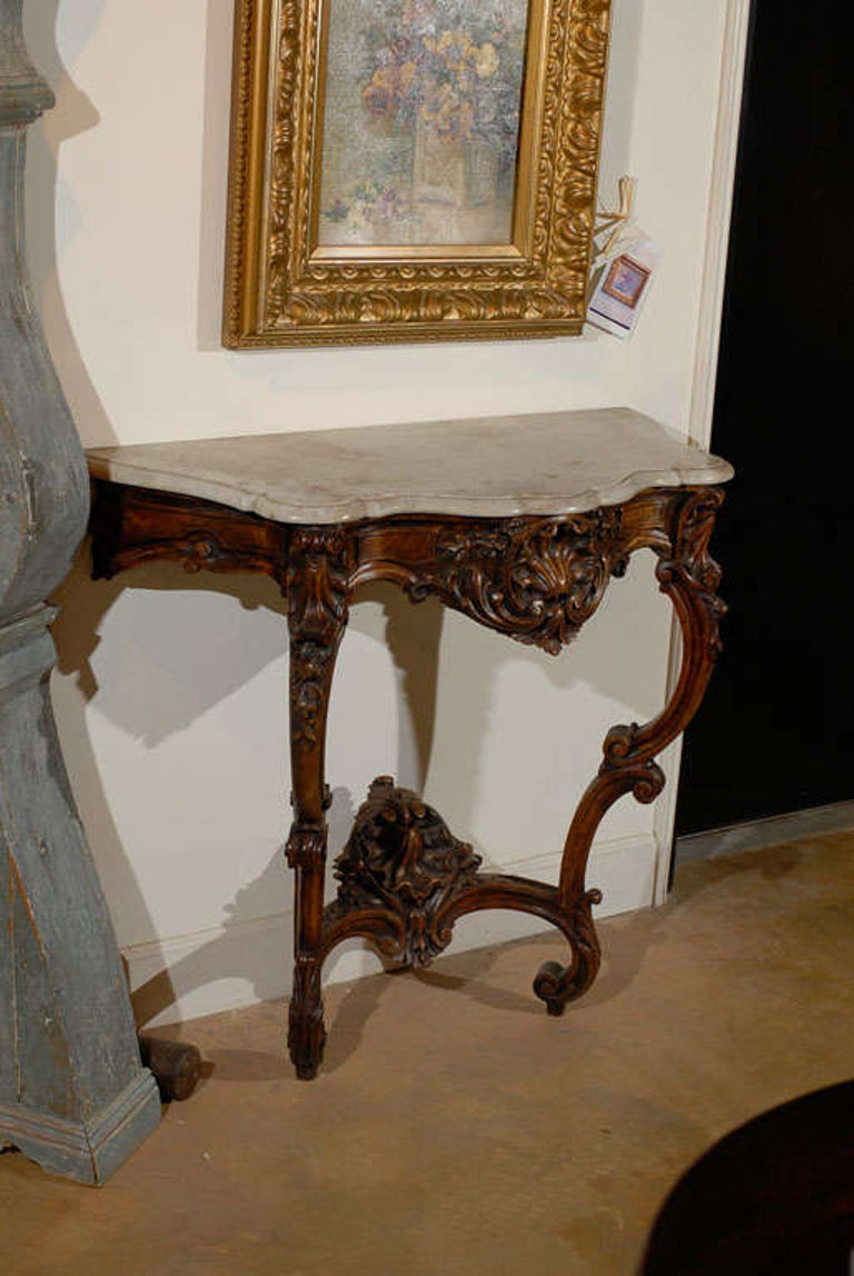 French Rococo Style 19th Century Carved Wooden Console Table with Marble Top For Sale 3