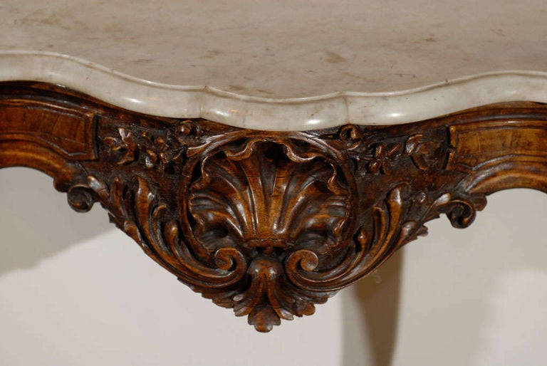 French Rococo Style 19th Century Carved Wooden Console Table with Marble Top For Sale 4