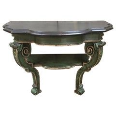 19th Century French Console in Lacquered Wood with Black Painted Top, 1890s