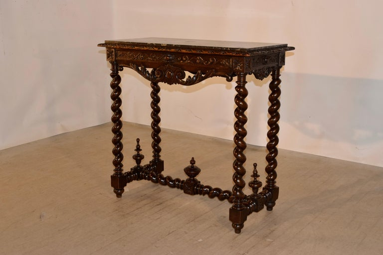 19th Century French Console Table with Marble Top In Good Condition For Sale In High Point, NC