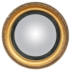 19th Century French Convex Round Mirror with Gilt Frame
