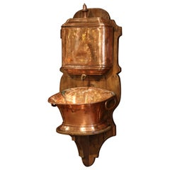 19th Century French Copper and Brass Lavabo Fountain on Pine Wall Mount