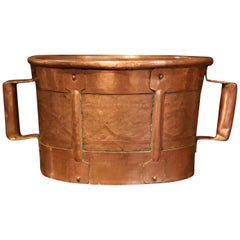 19th Century French Copper Grain Measure Bucket with Side Handles