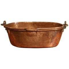 19th Century French Copper Jelly and Jam Boiling Bowl with Handle
