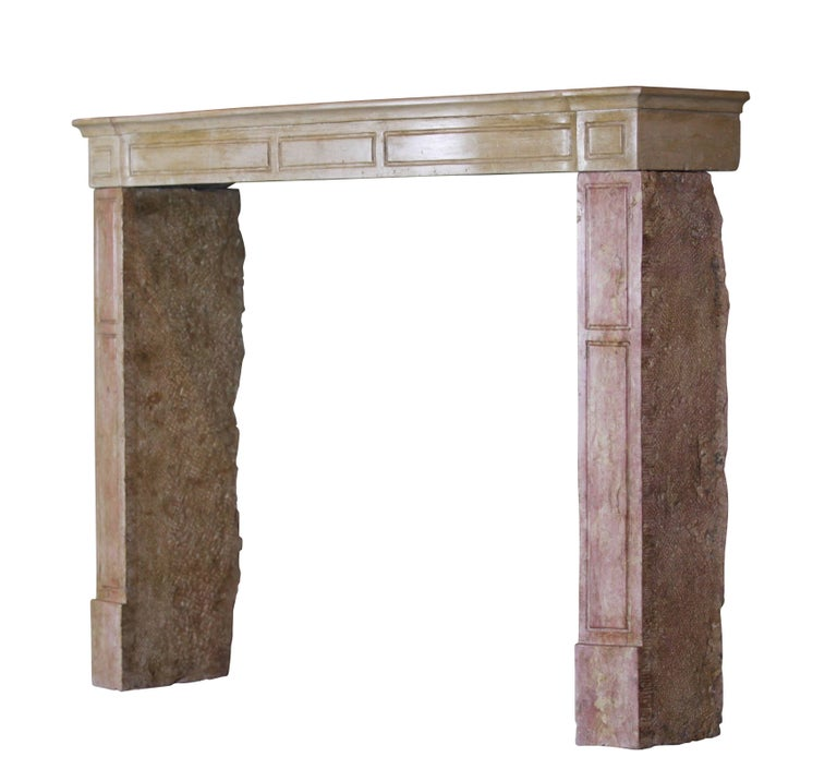 Carved 19th Century French Country Antique Fireplace Surround in Bicolor Lime Stone For Sale