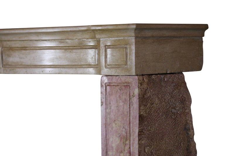 19th Century French Country Antique Fireplace Surround in Bicolor Lime Stone For Sale 3