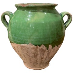 19th Century French Country Green Glazed Pottery Confit Pot from the Perigord