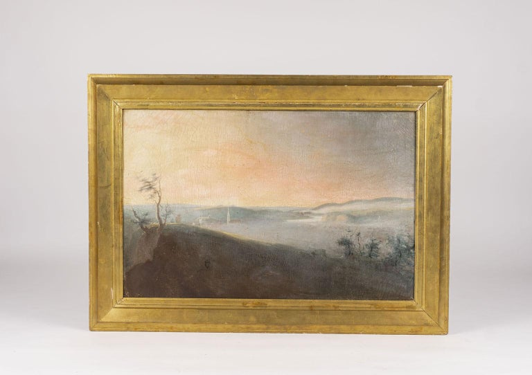 19th century French country landscape in oil on canvas. Framed in giltwood. Some old restoration.