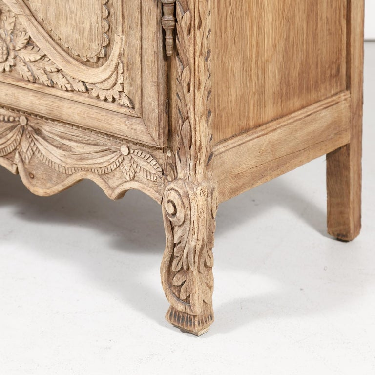 19th Century French Country Louis XV Style Bleached Oak Normandy Wedding Armoire For Sale 7